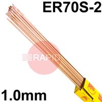 151025 SIFSTEEL A15 A copper-coated triple deoxidised mild steel rod 1.0 Dia mm 2.5kg Ctn, EN ISO 636-A : 2008 W2Ti, BS: 2901 A15, AWS ER70S-2, EN 1668: W2Ti