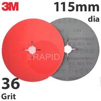 3M-27619 3M Cubitron II 987C 115mm (4 1/2 Inch) Fibre Disc (Stainless Steel) -  36 Grit (Pack of 25)