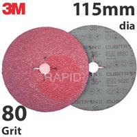 3M-27627 3M Cubitron II 982C 115mm (4 1/2 Inch) Fibre Disc - 80 Grit (Pack of 25)