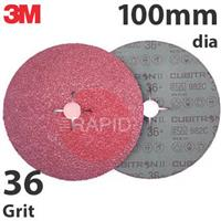 3M-27769 3M Cubitron II 982C Fibre Disc, 100mm dia, 36+ Grit (Pack of 25)