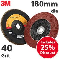 3M-51485 3M Cubitron II 969F 180mm (7 Inch) Flap Disc, 40 Grit - Flat (Box of 10)