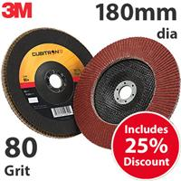 3M-51487 3M Cubitron II 969F 180mm (7 Inch) Flap Disc, 80 Grit - Flat (Box of 10)