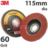 3M-65052 3M Cubitron II 967A 115mm (4 1/2 Inch) Flap Disc, 60 Grit - Conical (Box of 10)