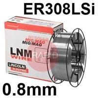 581386 Lincoln Electric LNM 304LSi 0.8mm Diameter Stainless Steel Mig Wire, 15.0 Kg Reel, ER308LSi, G 19 9 LSi