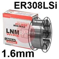 581416 Lincoln Electric LNM 304LSi 1.6mm Diameter Stainless Steel Mig Wire, 15.0 Kg Reel, ER308LSi, G 19 9 L Si