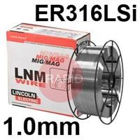 581430 Lincoln Electric LNM 316LSi Stainless Steel MIG Wire 1.0 mm Diameter 15.0 Kg Reel, ER316LSi, G 23 12 L Si