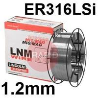 581447 Lincoln Electric LNM 316LSi Stainless Steel MIG Wire 1.2 mm Diameter 15.0 Kg Reel, ER316LSi, G 19 12 3 L Si