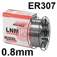 581901 Lincoln Electric LNM 307 Stainless Steel MIG Wire, 0.8mm Diameter, 15.0 Kg Reel, ER307, G 18 8 Mn