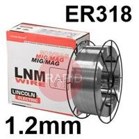 582246 Lincoln Electric LNM 318Si Stainless Steel MIG Wire 1.2 mm Diameter 15.0 Kg Reel, ER318, G 19 12 3 L Si