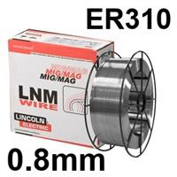 582390 Lincoln Electric LNM 310 Stainless Steel Mig Wire, 0.8mm Diameter, 15.0 Kg Reel, ER310, G 25 20