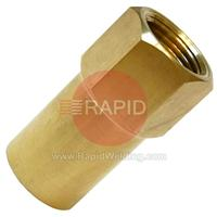 AERGBN Cylinder Adaptor. W21.8 Female for CO2 Cylinder. To G5/8 Female for Argon Regulator.