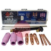 CK-AK3 CK Tig Torch Accessory Kit For CK210, TL210, FL250, CK300, TL300, CK18, TL18, CK26, TL26 & Kemppi 220, 250W(See Chart For Contents)