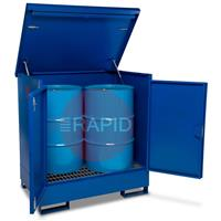 DB2 DrumBank 2 Drum Enclosed Spill Pallet 1320×980×1400mm