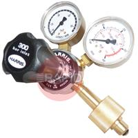 H1270 Argon (Nevoc 300 Bar) 801/901 Single Stage Two Gauge Regulator, W30x2 Nevoc RH Cylinder Connection, 3/8