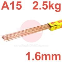 RA151625 SIFSTEEL A15 A copper-coated triple deoxidised mild steel rod 1.6  Dia mm 2.5kg Ctn, EN ISO 636-A : 2008 W2Ti, BS: 2901 A15, AWS ER70S-2, EN 1668: W2Ti