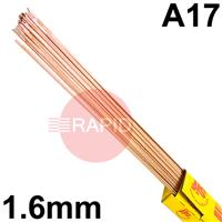 RA171650 SIFSTEEL A17 deoxidised rod 1.6 Dia mm 5.0kg Ctn, BS: 2901 A17