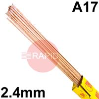 RA172450 SIFSTEEL A17 deoxidised rod 2.4  Dia mm 5.0kg Ctn, BS: 2901 A17