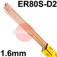 RA311650 SIFSTEEL A31 copper-coated alloy steel rod 1.6  Dia mm 5.0kg Ctn, EN ISO 14341-A G4Mo, BS: 2901 A31, AWS: ER 80S-D2