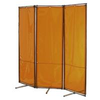 RF244BNZ Tusker RF Folding Frame Welding Screen with Safearc Bronze Welding Curtain, 2.44m wide x 1.83m high