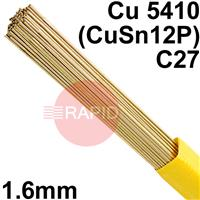 RO8216XX SIFPHOSPHOR BRONZE No 82 rod 1.6mm Diameter, Cu 5410 (CuSn12P), C27