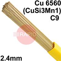 RO9624XX SIFSILCOPPER No 968 A copper rod, containing 3% silicon and 1% manganese 2.4mm Diameter, Cu 6560 (CuSi3Mn1), C9