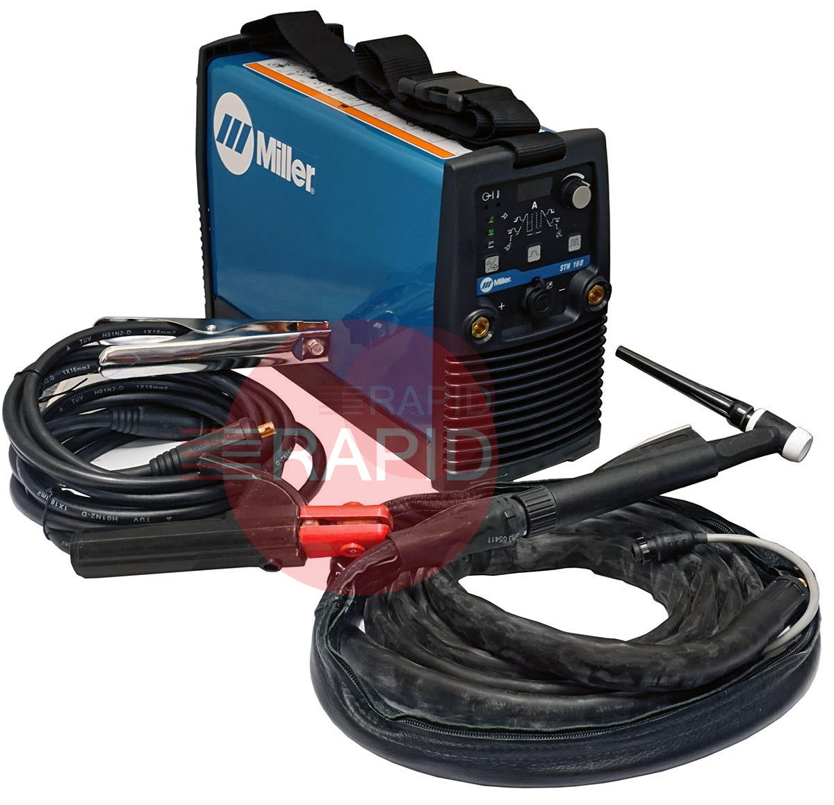 059016013PFS  Miller STH 160 DC Pulse Tig Welder Package with CK Flex-Loc Torch & MMA Cable Set, 230v