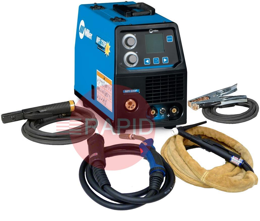 059016014MPPK  Miller MPi 220P Multi Process Pulse Mig/Tig/Arc Ready to Weld Package, 230v