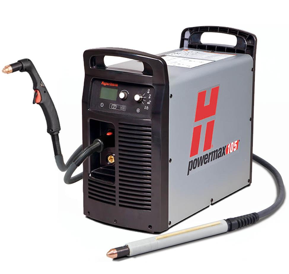 059424  Hypertherm Powermax 105 Machine System. Includes 2 7.5m Torches - 75 degree Hand Torch and Machine Torch. 400v CE