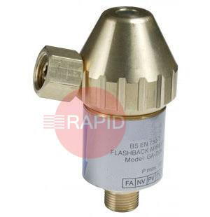 "0657-0145  Victor FBV-FR-B D99 Resettable Fuel Flashback Arrestor, Regulator Mounted, 5 Bar, 3/8"" BSP"