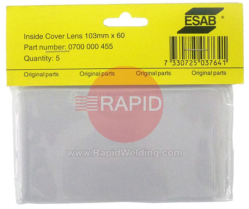 0700000455  ESAB Aristo Tech HD Inner Cover Lens 103 x 60mm (Pack of 5)