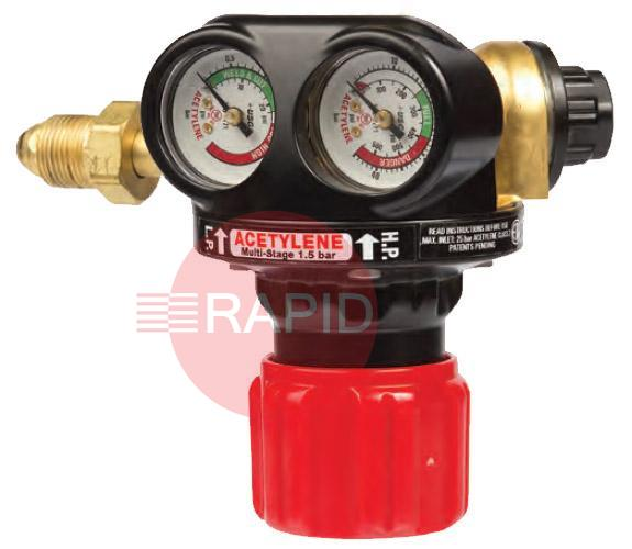 "0700017185  Edge Two Stage Acetylene Regulator, Bottom Entry, 1.5 Bar, G5/8""  LH Inlet, G3/8"" Outlet"