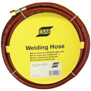 "071262201P  ESAB Acetylene Hose - Red, 6mm x 5m, Fitted 1/4"" LH"