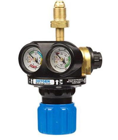 "0785-2115  EDGE 4 Series Two Stage Oxygen Regulator, Side Entry, 4 Bar, 5/8"" BSP Inlet, 3/8"" BSP Outlet, UK Fitting Only"