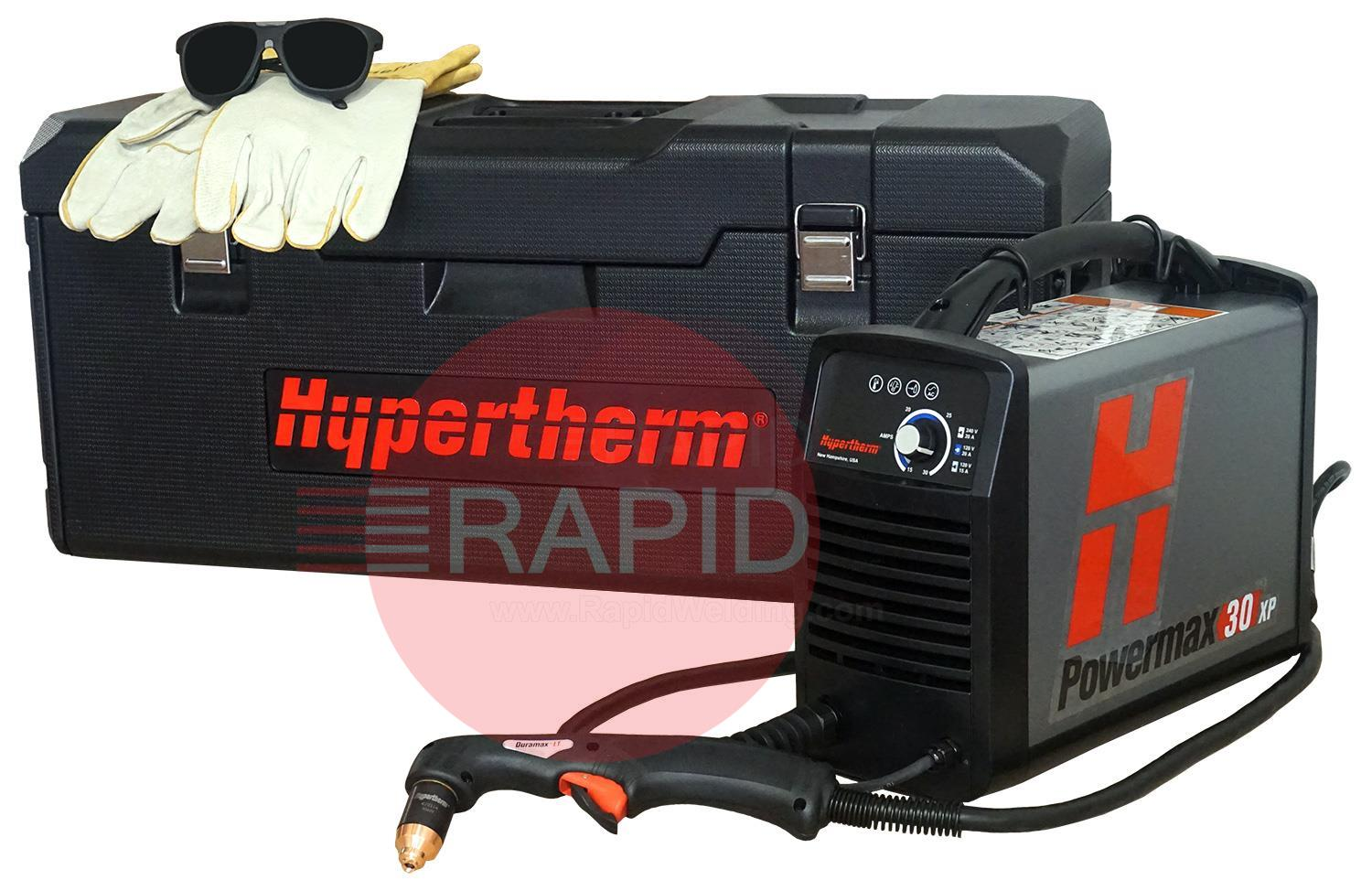 088083  Hypertherm Powermax 30 XP Plasma Cutter with 4.5m Torch and Case, Dual Voltage 110v & 240v CE