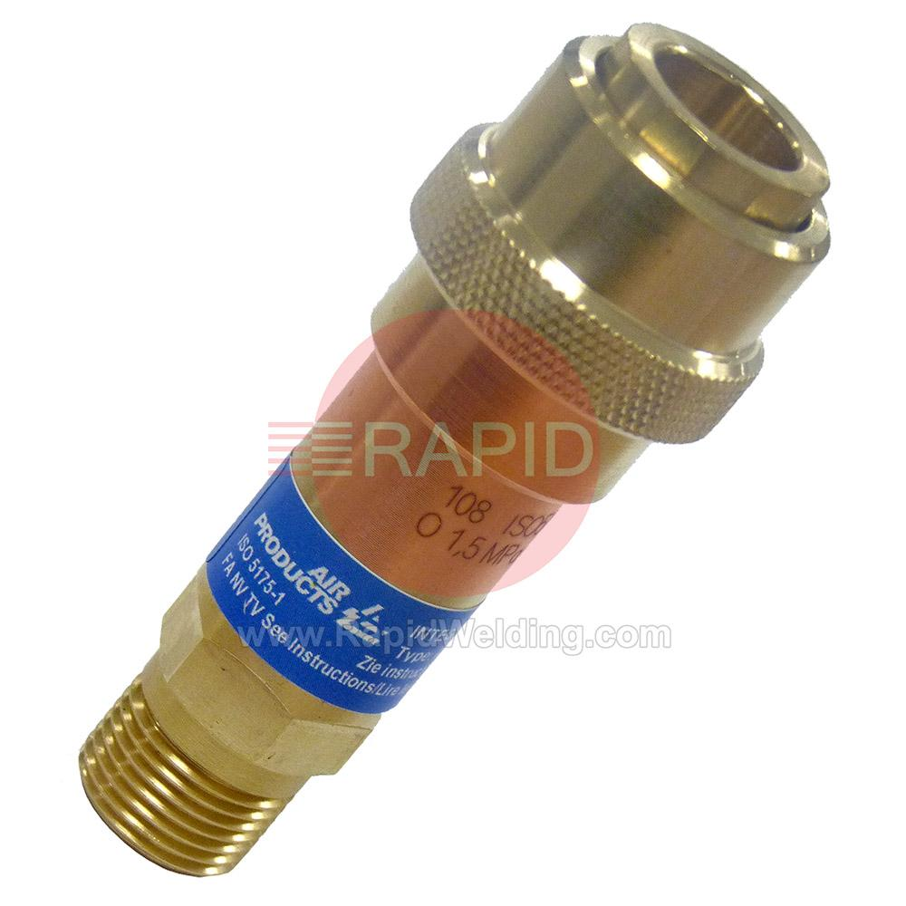 124523  Air Products Integra Flashback Arrestor. Quick Connect Oxygen.