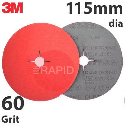 3M-27645  3M Cubitron II 987C 115mm (4 1/2 Inch) Fibre Disc (Stainless Steel) - 60 Grit (Pack of 25)