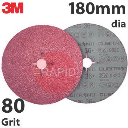 3M-27741  3M Cubitron II 982C 180mm (7 Inch) Fibre Disc - 80 Grit (Pack of 25)