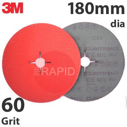 3M-27742  3M Cubitron II 987C 180mm (7 Inch) Fibre Disc - 60 Grit (Pack of 25)