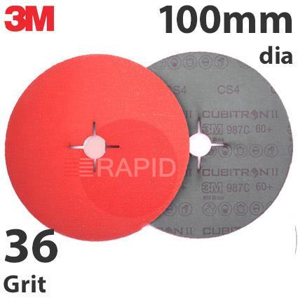 3M-27772  3M Cubitron II 987C 100mm Fibre Disc - 36 Grit (Pack of 25)