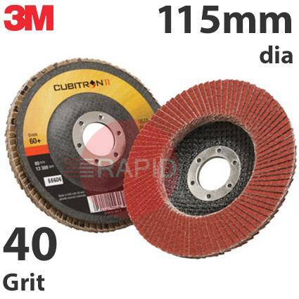 3M-65051  3M Cubitron II 967A 115mm (4 1/2 Inch) Flap Disc, 40 Grit - Conical (Box of 10)