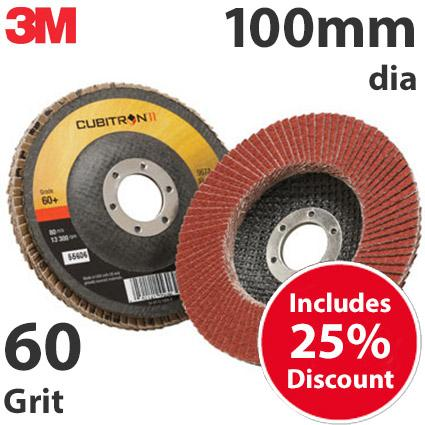 3M-65064  3M Cubitron II 967A 100mm Flap Disc, 60 Grit - Flat (Box of 10)
