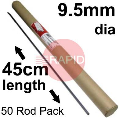 "43-049-007  Arcair Slice 9.5mm dia x 45cm Long Uncoated Electrodes (3/8"" x 18"") Box of 50"