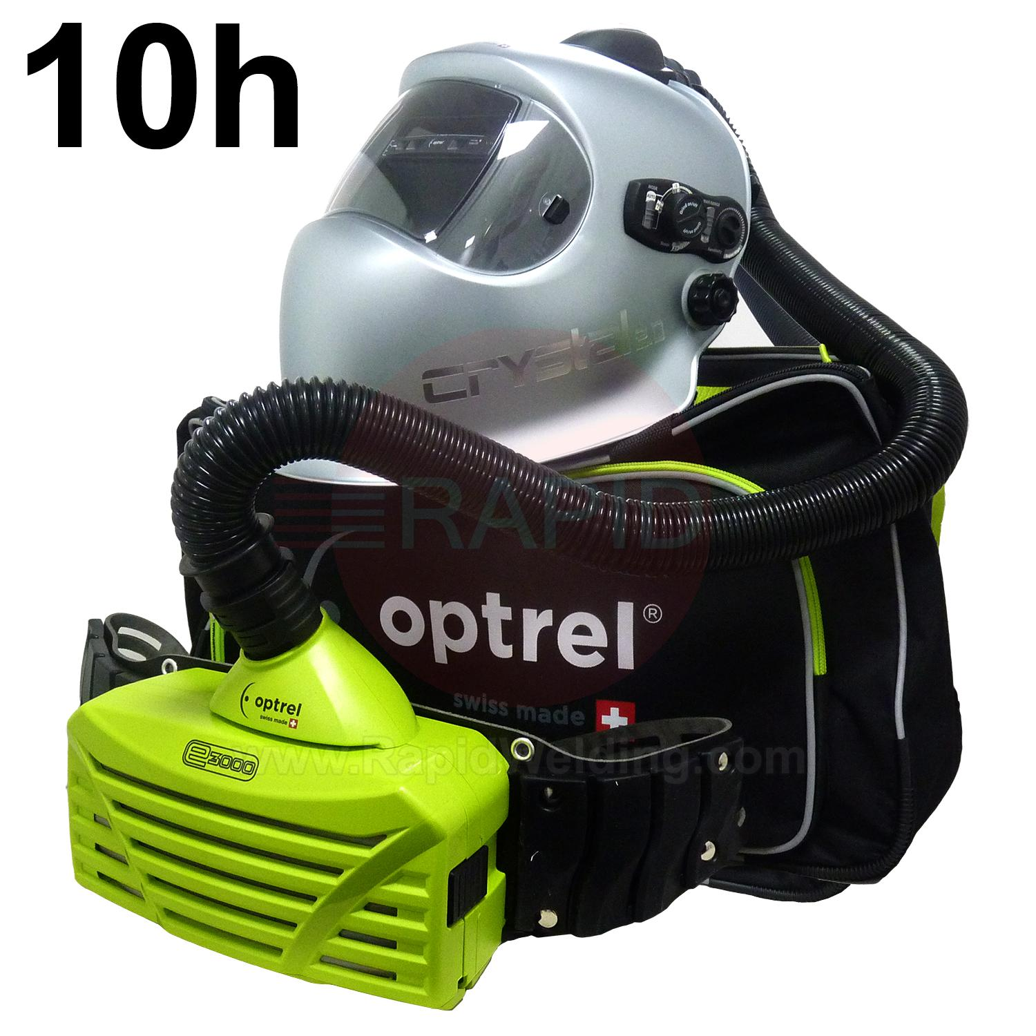 4530.000.G  Optrel Crystal 2.0 Auto Darkening Welding Helmet and E3000 10 Hours PAPR System, Ready to Weld Package