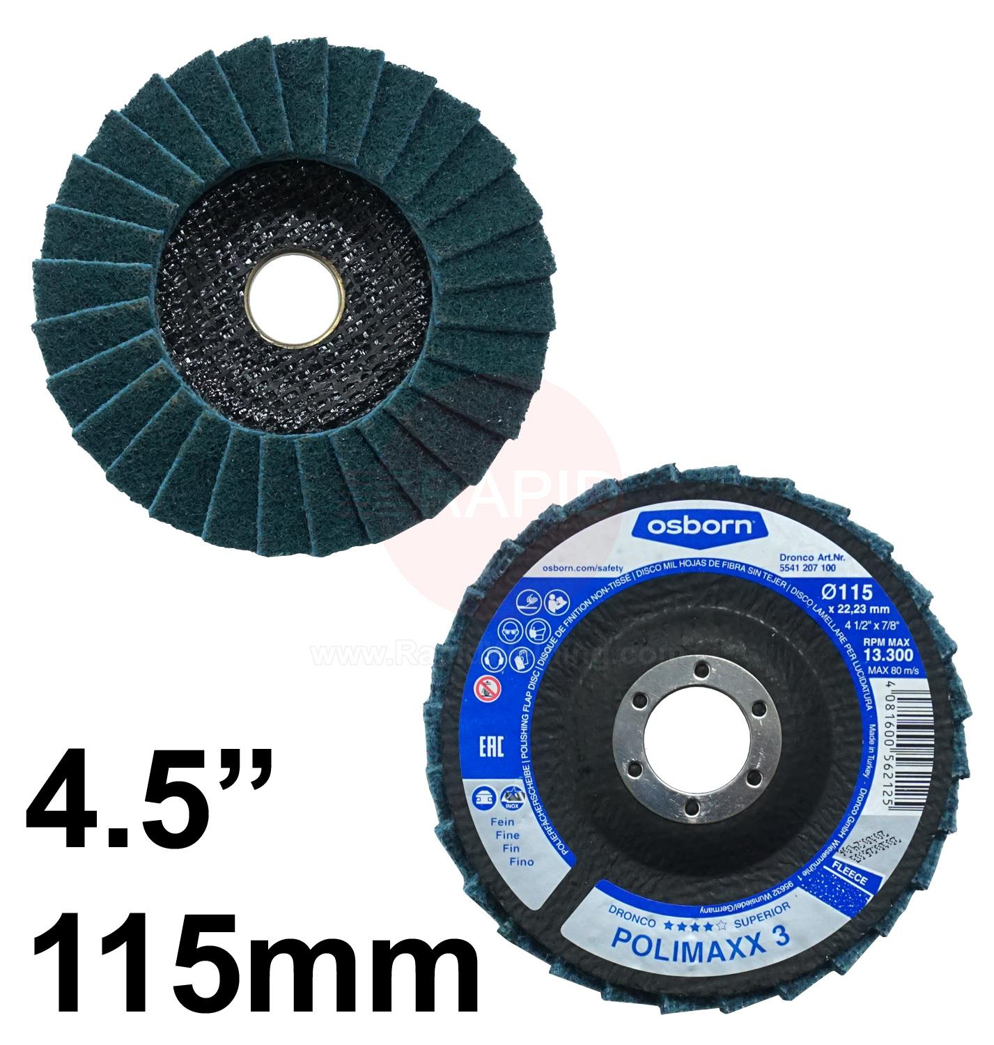 "5511207  DRONCO 4 1/2"" POLISHING FLAP DISC FINE"