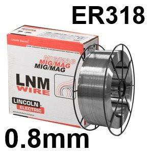 582222  Lincoln Electric LNM 318Si Stainless Steel Mig Wire 0.8 mm Diameter 15.0 Kg Reel, ER318, G 19 12 3 NbSi