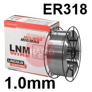 596014  Lincoln Electric LNM 318Si Stainless Steel MIG Wire, 1.2 mm Diameter 15.0 Kg Reel, ER318, G 19 12 3 NbSi