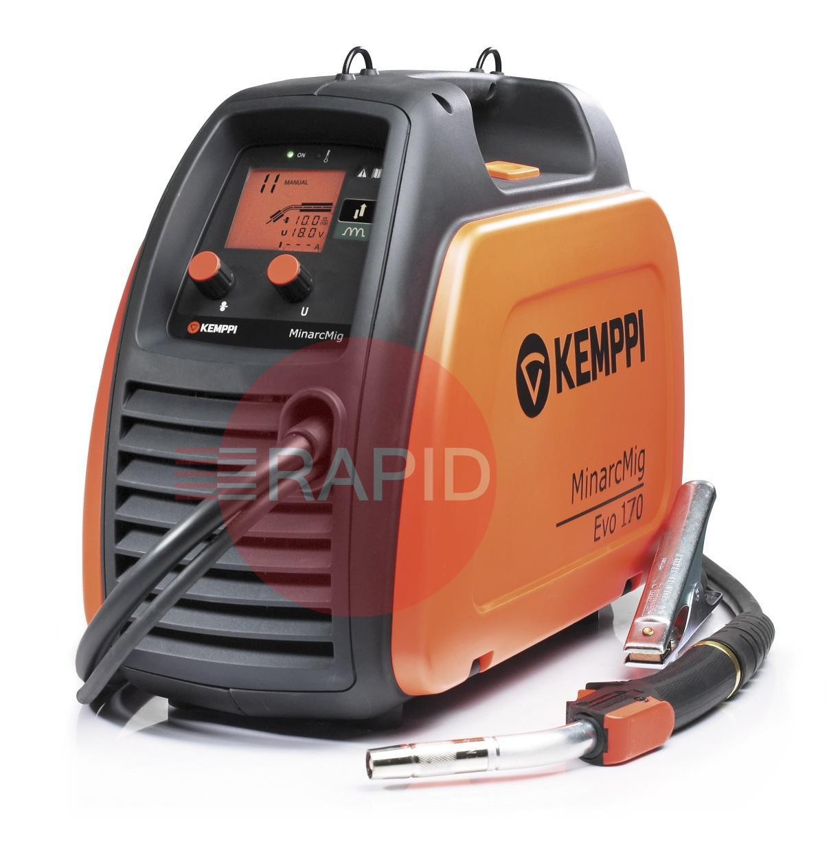 61008170  Kemppi Minarcmig 170 EVO Mig Welder 230V CE. Includes MMG22 3M Gun, Earth Cable, 4.5M Gas Hose <font color='blue'>Includes Free European Shipping</font>