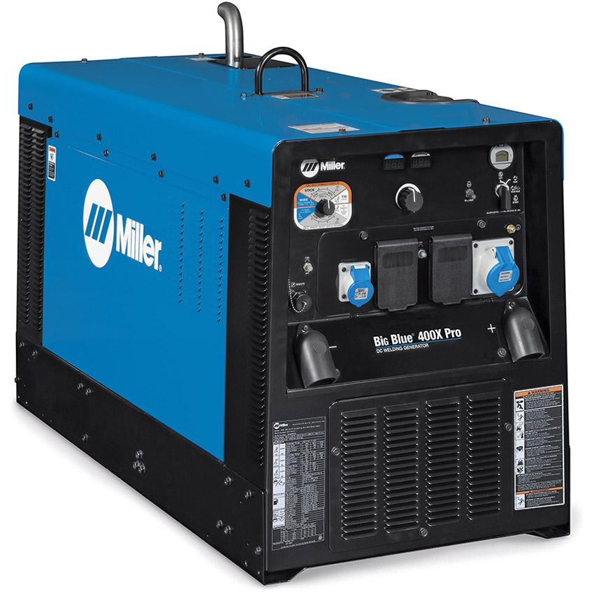 907631P  Miller Big Blue 400 X Pro Diesel Driven Welder Generator with 5m MMA Cable Set & 6m RHC 14 Remote
