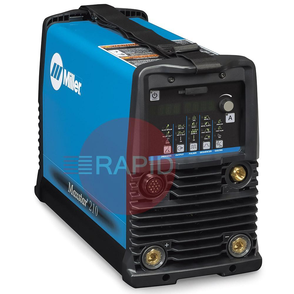 907684001  Miller Maxstar 210 DX DC Tig Welder. 120 - 480 VAC, 1 or 3 phase. Comes complete with: power cord 3 m, without plug
