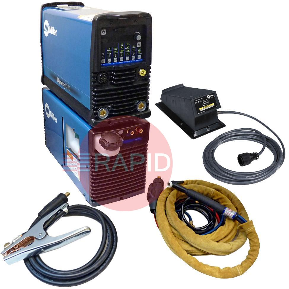 907686003WPFD  Miller Dynasty 210 DX AC/DC Water Cooled Tig Welder Package with CK230 4m & Foot Pedal, 120 - 480v